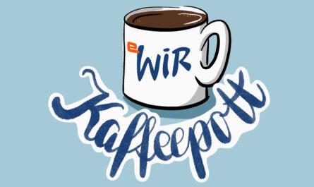 """Bildmarke für die Unterhaltungsrubrik Kaffeepott, die monatlich im Wilhelmsburger Inselrundblick erscheint. Das Bild zeigt einen Kaffeebecher, darunter steht in Schönschrift """"Kaffeepott""""."""