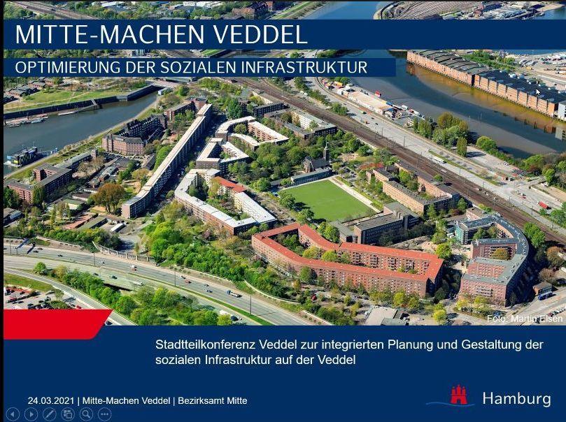 Luftaufnahme: Der Stadtteil Veddel. Folie aus einer Präsentation zum Thema Aufwertung der Veddel.