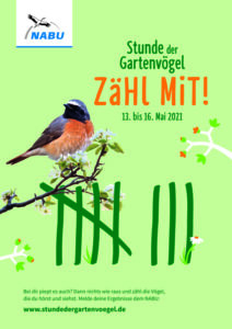 """Werbeplakat für die """"Stunde der Gartenvögel"""" des NABU. Ein Dompfaff sitzt auf einem Kirschblütenzweig. Darunter ist eine grüne Strichliste zu sehen. O=ben drüber steht """"Zähl mit!"""". Der Hintegrund ist hellgrün."""