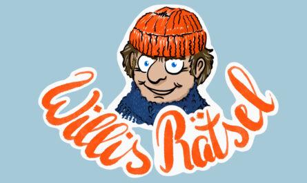 """Bildmarke für Willis Rätsel, das monatlich im Wilhelmsburger Inselrundblick erscheint.Das Bild zeigt einen älteren Mann mit Strickmütze und Wollpulli (maritim), darunter steht in Schönschrift """"Willis Rätsel""""."""