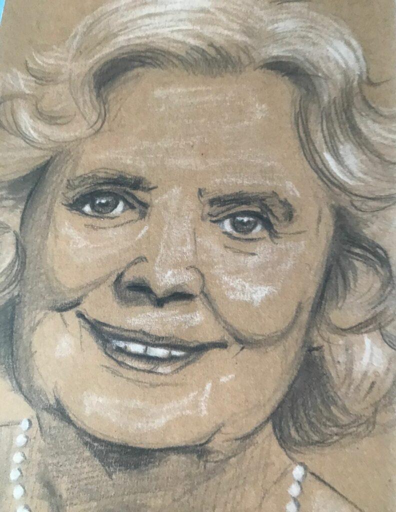 Das lächelnde Gesicht der Volksschauspielerin Heidi Kabel auf braunem Zeichenkarton. Die Künstlerin Annett Bergk hat mit Graphit (grau) und weißer Kreide gearbeitet.