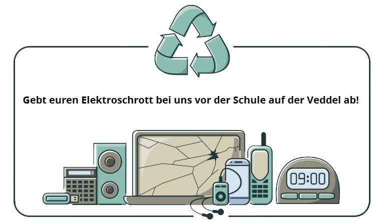 Eine grafische Darstellung von Elektro-Kleingeräten, die recycled werden können.